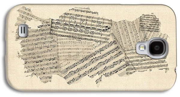 Old Sheet Music Map Of Turkey Map Galaxy S4 Case