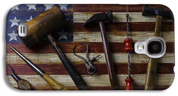 Old Tools On Wooden Flag Galaxy S4 Case by Garry Gay