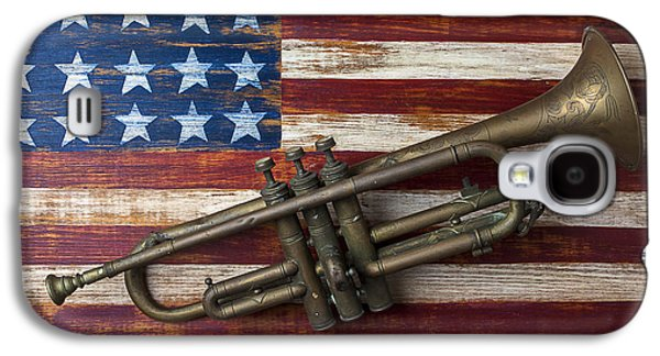 Old Trumpet On American Flag Galaxy S4 Case