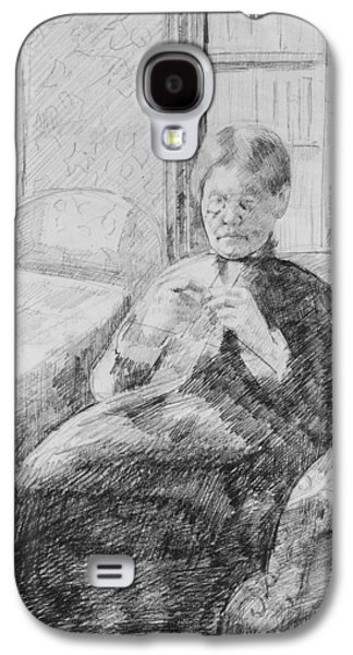 Old Woman Knitting Galaxy S4 Case
