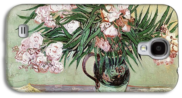 Pink Blossoms Galaxy S4 Cases - Oleanders and Books Galaxy S4 Case by Vincent van Gogh