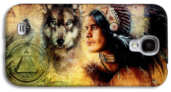 One Dollar Collage With Indian Man Warrior With Wolf Ornament Background Galaxy S4 Case by Jozef Klopacka