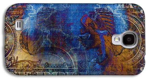 One Dollar Collage Young Indian Warrior Wearing A Gorgeous Feather Headdress, Profile Portrait. Galaxy S4 Case by Jozef Klopacka