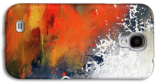 Splashes At Sunset - Orange Abstract Art Galaxy S4 Case by Lourry Legarde