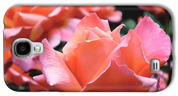 Orange-pink Roses  Galaxy S4 Case by Rona Black