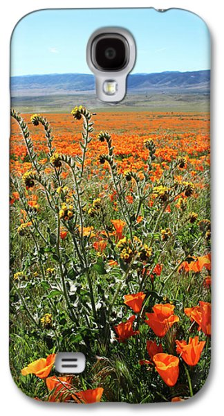 Orange Poppies And Fiddleneck- Art By Linda Woods Galaxy S4 Case by Linda Woods