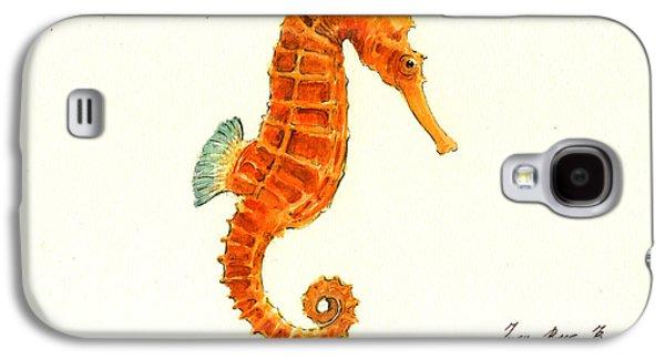Orange Seahorse Galaxy S4 Case by Juan Bosco