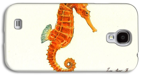 Orange Seahorse Galaxy S4 Case by Juan Bosco