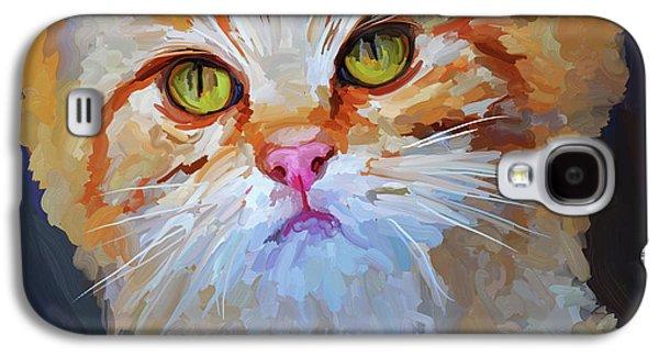 Orange Tabby Paintings Galaxy S4 Cases - Orange Tabby Cat - Square Galaxy S4 Case by Jai Johnson