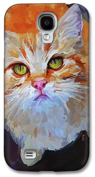 Orange Tabby Paintings Galaxy S4 Cases - Orange Tabby Cat Galaxy S4 Case by Jai Johnson
