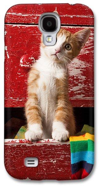Orange Tabby Kitten In Red Drawer  Galaxy S4 Case by Garry Gay
