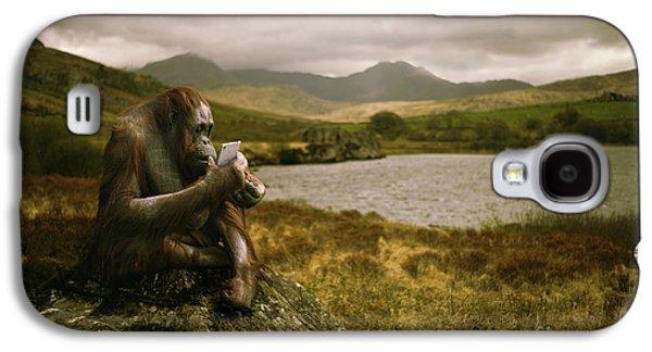 Orangutan With Smart Phone Galaxy S4 Case by Amanda Elwell