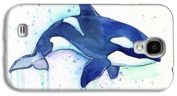 Orca Whale Watercolor Killer Whale Facing Right Galaxy S4 Case by Olga Shvartsur