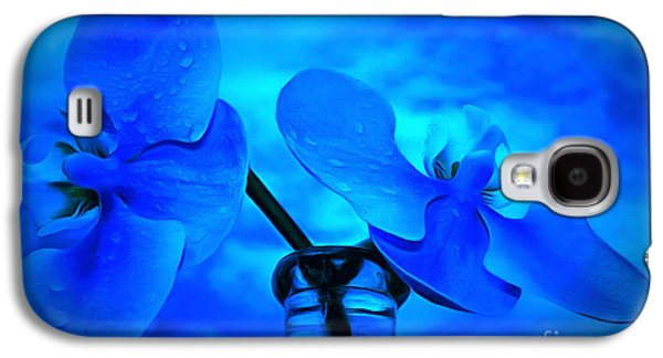 Orchids Of Blue Galaxy S4 Case by Krissy Katsimbras