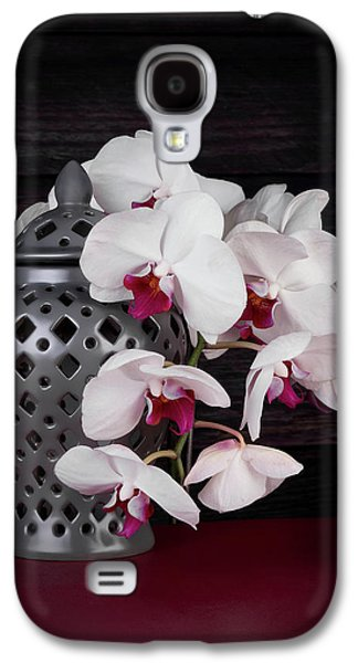 Orchid Galaxy S4 Case - Orchids With Gray Ginger Jar by Tom Mc Nemar