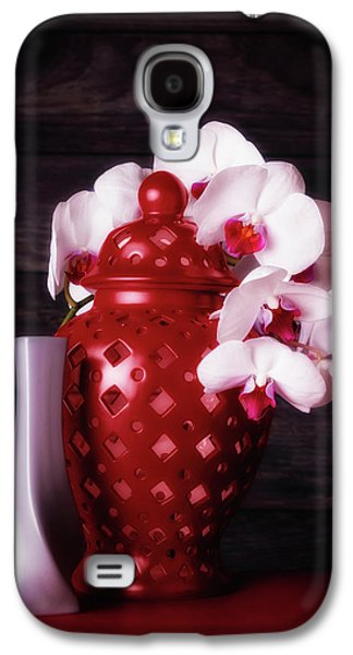 Orchid Galaxy S4 Case - Orchids With Red And Gray by Tom Mc Nemar