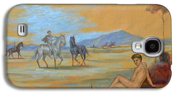 Original Oil Painting Art Male Nude With Horses On Canvas #16-2-5 Galaxy S4 Case by Hongtao     Huang