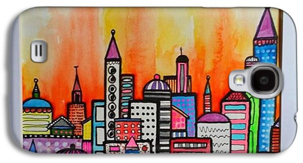 City Galaxy S4 Case - Original #watercolor ..fire In The by Robin Mead