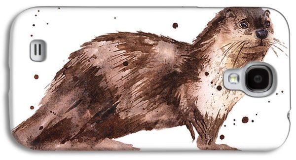 Otter Painting Galaxy S4 Case by Alison Fennell