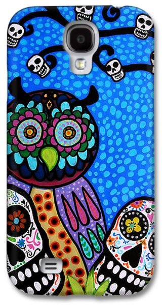 Mother Gift Galaxy S4 Cases - Owl And Sugar Day Of The Dead Galaxy S4 Case by Pristine Cartera Turkus