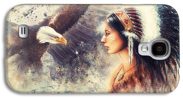 Painting Of A Young Indian Woman Wearing A Gorgeous Feather Headdress. With An Image  Eagle Spirits  Galaxy S4 Case by Jozef Klopacka
