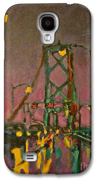 Painting Of Traffic On Wet Bridge Deck At Night Galaxy S4 Case by John Malone