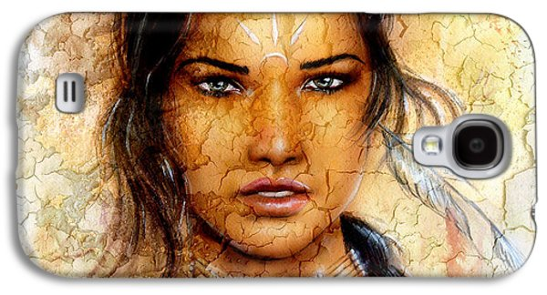 Painting Young Indian Woman Wearing A Feather Eye Cont Crackle Background. Galaxy S4 Case by Jozef Klopacka