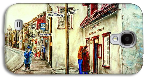 Quebec Streets Paintings Galaxy S4 Cases - Paintings Of Quebec Landmarks Aux Anciens Canadiens Restaurant Rainy Morning October City Scene  Galaxy S4 Case by Carole Spandau