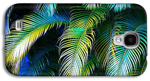 Palm Leaves In Blue Galaxy S4 Case
