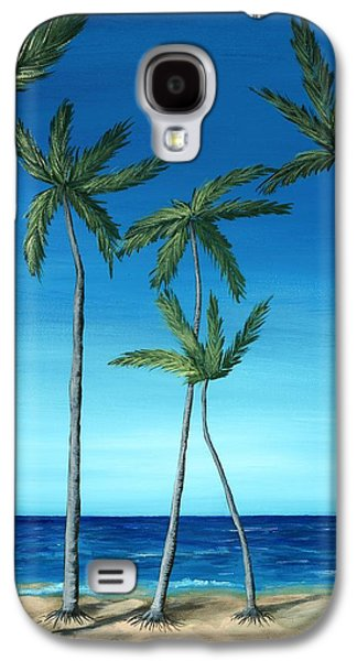 Galaxy S4 Case featuring the painting Palm Trees On Blue by Anastasiya Malakhova