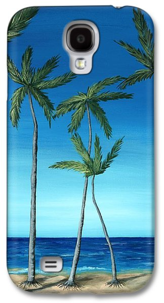 Palm Trees On Blue Galaxy S4 Case by Anastasiya Malakhova