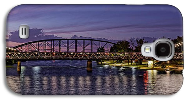 Panorama Of Waco Suspension Bridge Over The Brazos River At Twilight - Waco Central Texas Galaxy S4 Case