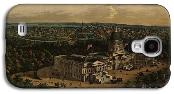 Panoramic View Of Washington City From The New Dome Of The Capitol Galaxy S4 Case by MotionAge Designs
