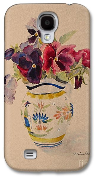 Pansies In A Quimper Pot Galaxy S4 Case by Beatrice Cloake