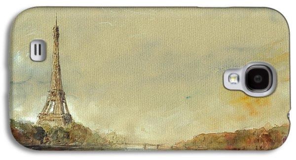 Paris Eiffel Tower Painting Galaxy S4 Case by Juan  Bosco