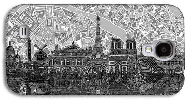 Paris Skyline Black And White Galaxy S4 Case by Bekim Art