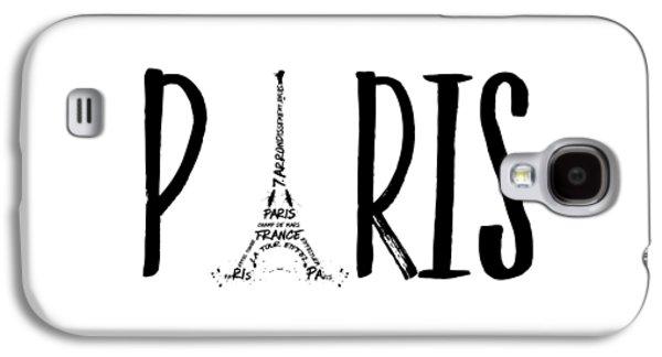 Paris Typography Galaxy S4 Case by Melanie Viola