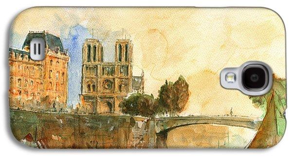 Paris Watercolor Galaxy S4 Case by Juan  Bosco