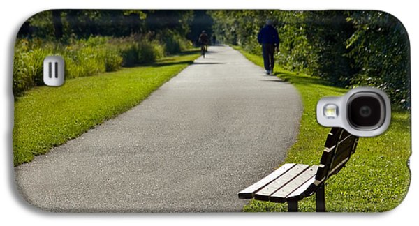 Park Bench And Person On Walking Trail Photo Galaxy S4 Case by Paul Velgos