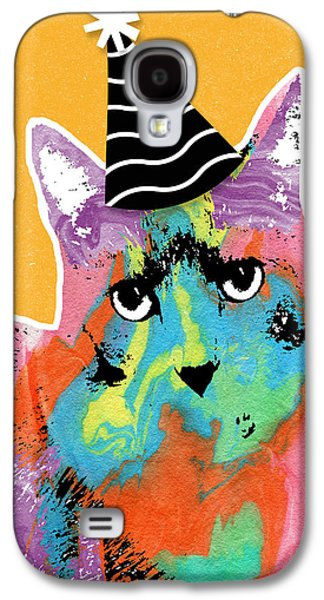 Party Cat- Art By Linda Woods Galaxy S4 Case by Linda Woods