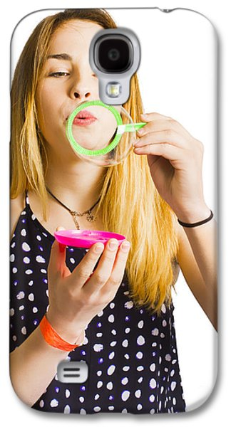 Party Guest Blowing Bubbles Of Congratulations Galaxy S4 Case by Jorgo Photography - Wall Art Gallery