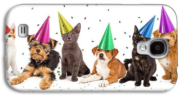 Party Puppies And Kittens With Confetti Galaxy S4 Case