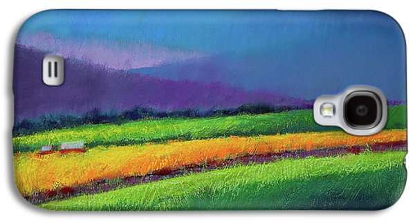 Red Abstract Pastels Galaxy S4 Cases - Passing Rain Galaxy S4 Case by David Patterson