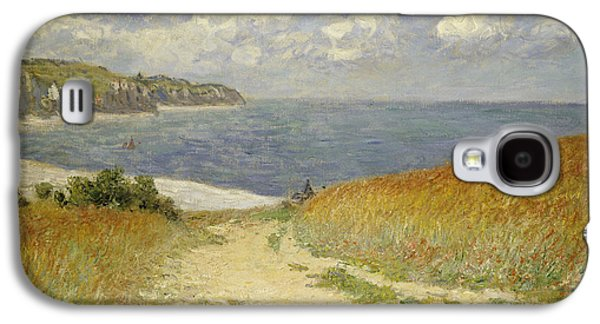 Field Paintings Galaxy S4 Cases - Path in the Wheat at Pourville Galaxy S4 Case by Claude Monet