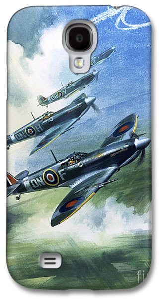 Patrolling Flight Of 416 Squadron, Royal Canadian Air Force, Spitfire Mark Nines Galaxy S4 Case by Wilf Hardy