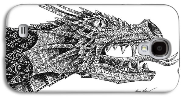 Galaxy S4 Case featuring the drawing Pattern Design Dragon by Aaron Spong