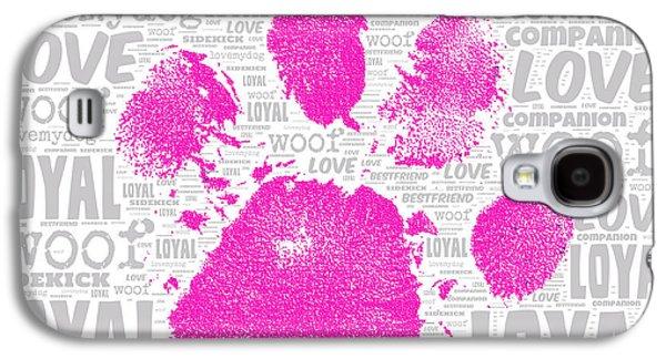 Paw Print Adopt Pink Galaxy S4 Case
