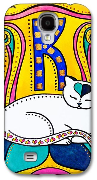 Galaxy S4 Case featuring the painting Peace And Love - Cat Art By Dora Hathazi Mendes by Dora Hathazi Mendes