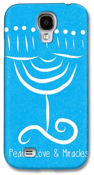 Peace Love And Miracles With Menorah Galaxy S4 Case by Linda Woods