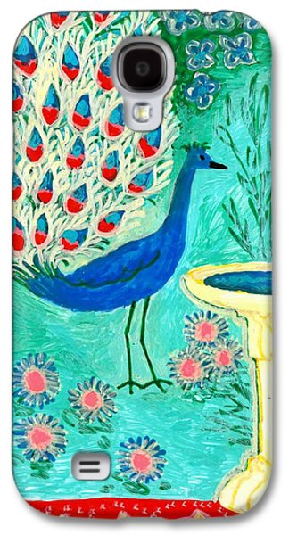 Bird Ceramics Galaxy S4 Cases - Peacock and Birdbath Galaxy S4 Case by Sushila Burgess